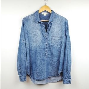 Cloth & Stone | Chambray Popover Top Ikat Print